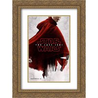 Star Wars: The Last Jedi 18x24 Double Matted Gold Ornate Framed Movie Poster Art Print