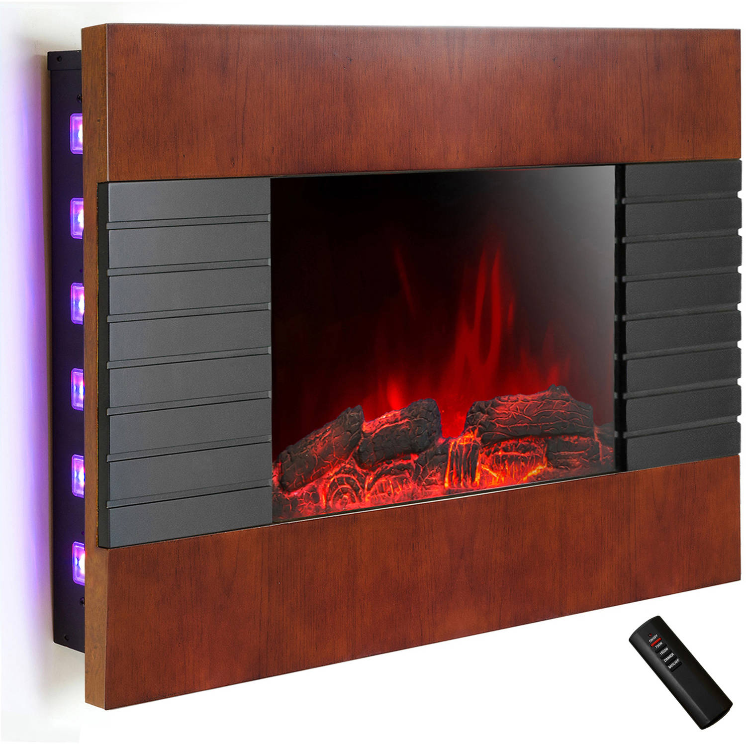 "AKDY FP0049 36"" 1500W Wall Mount Electric Fireplace Heater with Tempered Glass, Pebbles, Logs and Remote Control, Brown"