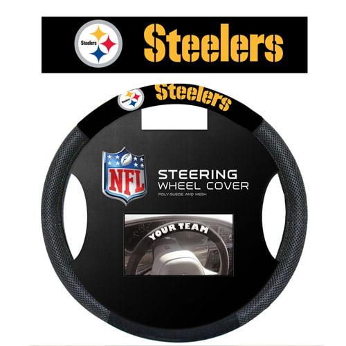 Fremont Die Inc Pittsburgh Steelers Poly-Suede Steering Wheel Cover Steering Wheel Cover