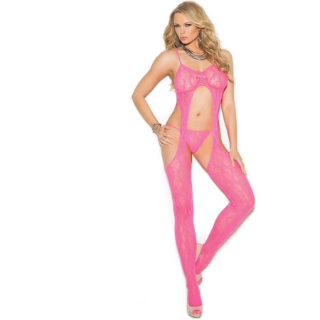 f84b1681563 Elegant Moments EM-1308 Lace suspender bodystocking and matching g-string  Neon Pink ...