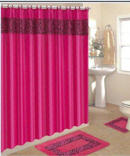Merveilleux 4 Piece Bath Rug Set/ 3 Piece Pink Zebra Bathroom Rugs With Fabric Shower  Curtain