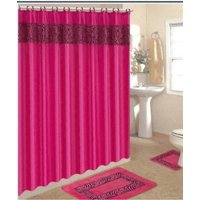 Product Image 4 Piece Bath Rug Set 3 Pink Zebra Bathroom Rugs With Fabric Shower Curtain