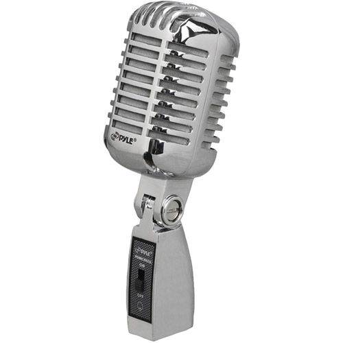 Pyle PDMICR42SL Classic Retro Vintage Style Dynamic Vocal Microphone, Silver by Pyle