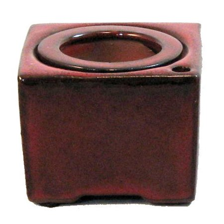Red Bamboo Pot (Square Self Watering Ceramic Pot with Felt Feet - Red - 4 3/8