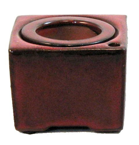 "Square Self Watering Ceramic Pot with Felt Feet - Red - 4 3/8"" x 3"""