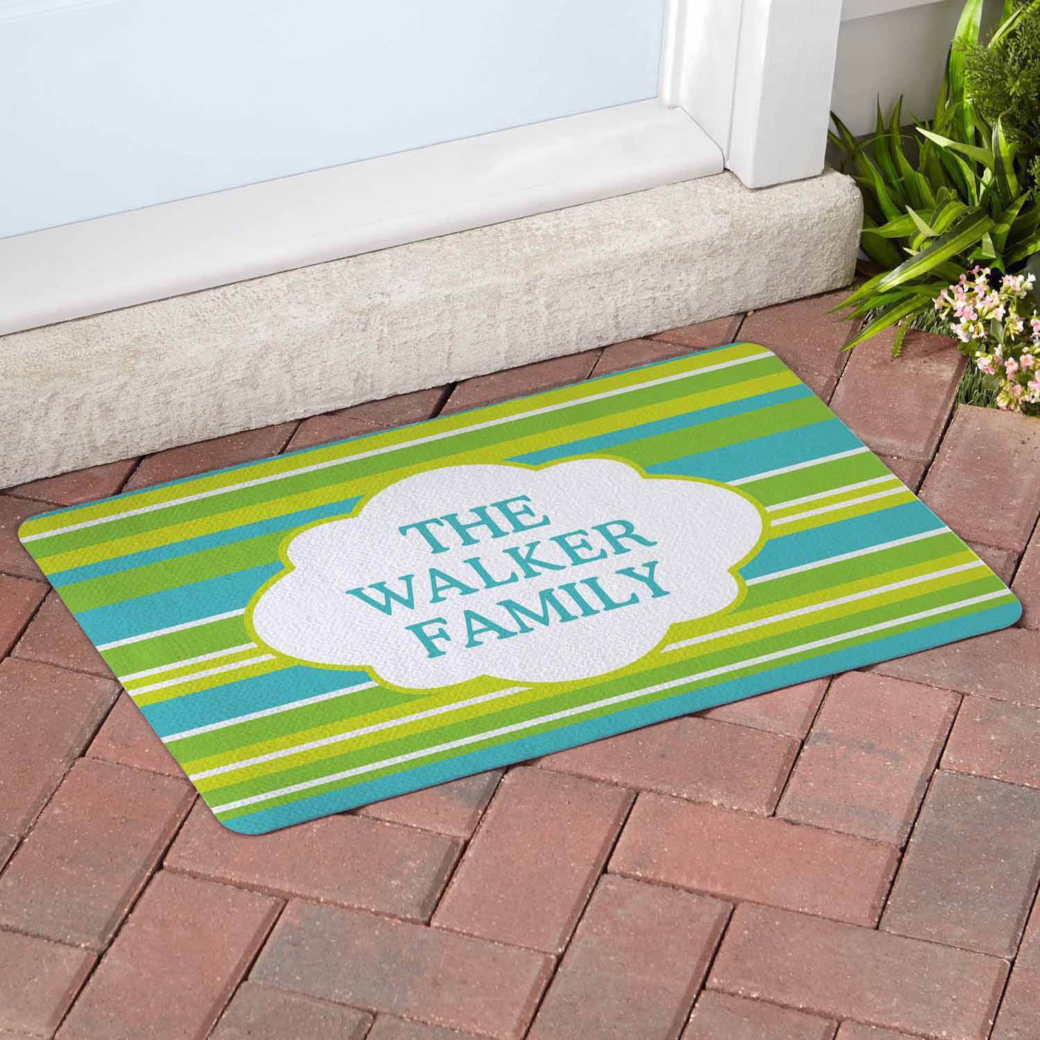 Personalized Summer Stripes Doormat, Lime Green, Available in Doormat or Comfort Mat