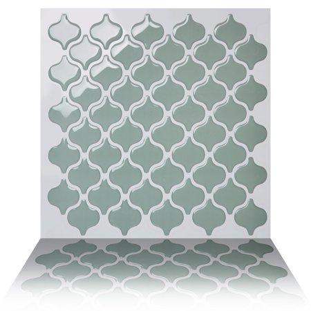 Tic Tac Tiles - Premium Anti Mold Peel and Stick Wall Tile Backsplash in Damask Jade