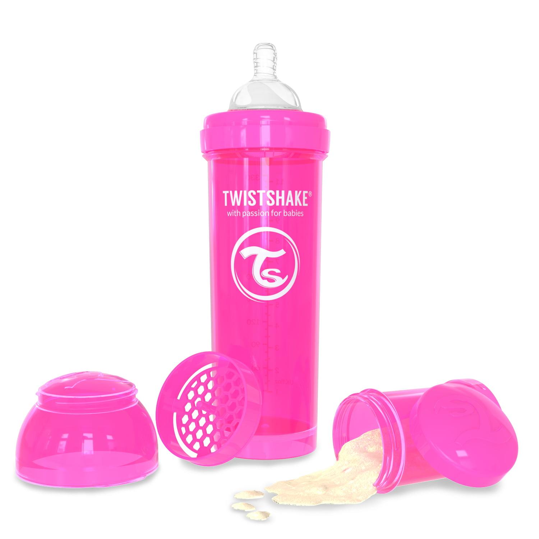 Twistshake Anti-Colic Baby Bottle & Accessories 330ml 11oz Pink Crazymonkey by Twistshake