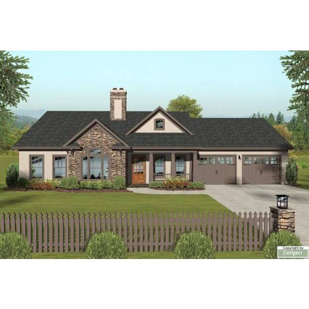 TheHouseDesigners-3063 Ranch House Plan with Slab Foundation (5 Printed Sets)