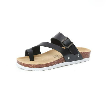 Topcobe Sandals for Women, Thong Sandals for Women, Women's Light Weight Cross Toe Double Buckle Strap Leather Flat Sandals, Black Summer Beach Soft Adjustable Buckle Flat Open Toe Slide Shoe for Men