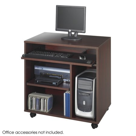 1901MH Office Furniture Grade Wood Mahogany Ready-to-Use Computer Desk With Four Dual Wheel Carpet Casters