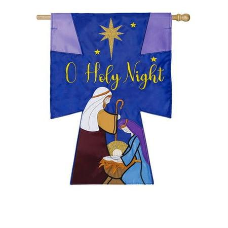 Night House Flag (Evergreen Flag & Garden Oh Holy Night 2-Sided Nylon 3'8 x 2'4 ft. House)