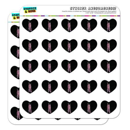 Ballet Slippers Pink Black Ballerina Dance Dancing Heart Shaped Planner Calendar Scrapbook Craft Stickers (Dance Scrapbook Stickers)