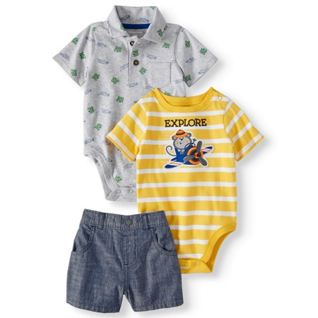 Baby Boys' Printed Polo, Graphic or Stripe Bodysuit and Canvas Shorts, 3-Piece Outfit Set 3 Piece Shorts Outfit
