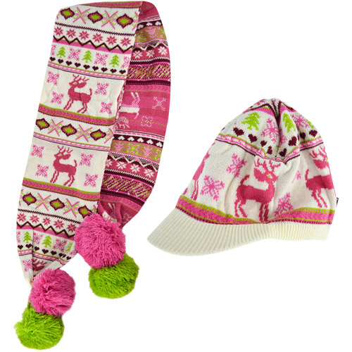 MUK LUKS Visor Beanie and Knit Scarf with Large Poms
