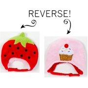 LCKDWSSC Strawberry/Cupcake Reversible Kid's Winter Hat Small
