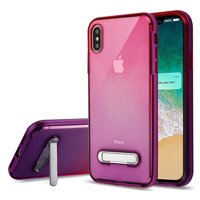 Apple iPhone Xs Max (6.5 inch) Phone Case Shockproof Hybrid Bumper Rubber Silicone Cover Transparent Clear Magnetic Metal Kick Stand Purple Hot Pink Case for Apple iPhone Xs Max
