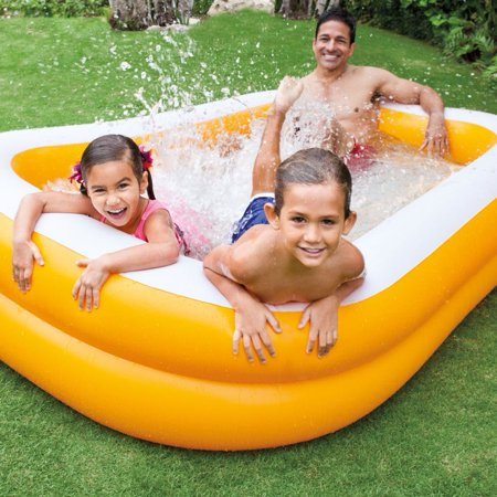 Intex Outdoor Inflatable Family & Kid Swimming Pool Swim Center, Orange (2 Pack)