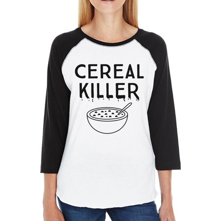 Cereal Killer Halloween Baseball Shirt For Womens Cute Graphic Tee - Cute Halloween Shirts For Women
