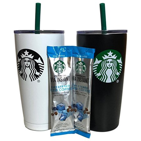 Starbucks Holiday Tumbler Gift Set Bundle With VIA Instant Sweetened Iced Coffee Packets, Black & White (2 Pack) - Cute Halloween Gif Tumblr