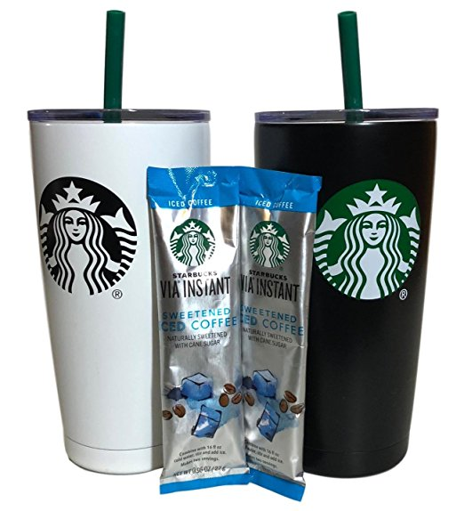 Starbucks Holiday Tumbler Gift Set Bundle With VIA Instant Sweetened Iced Coffee Packets, Black & White (2 Pack)