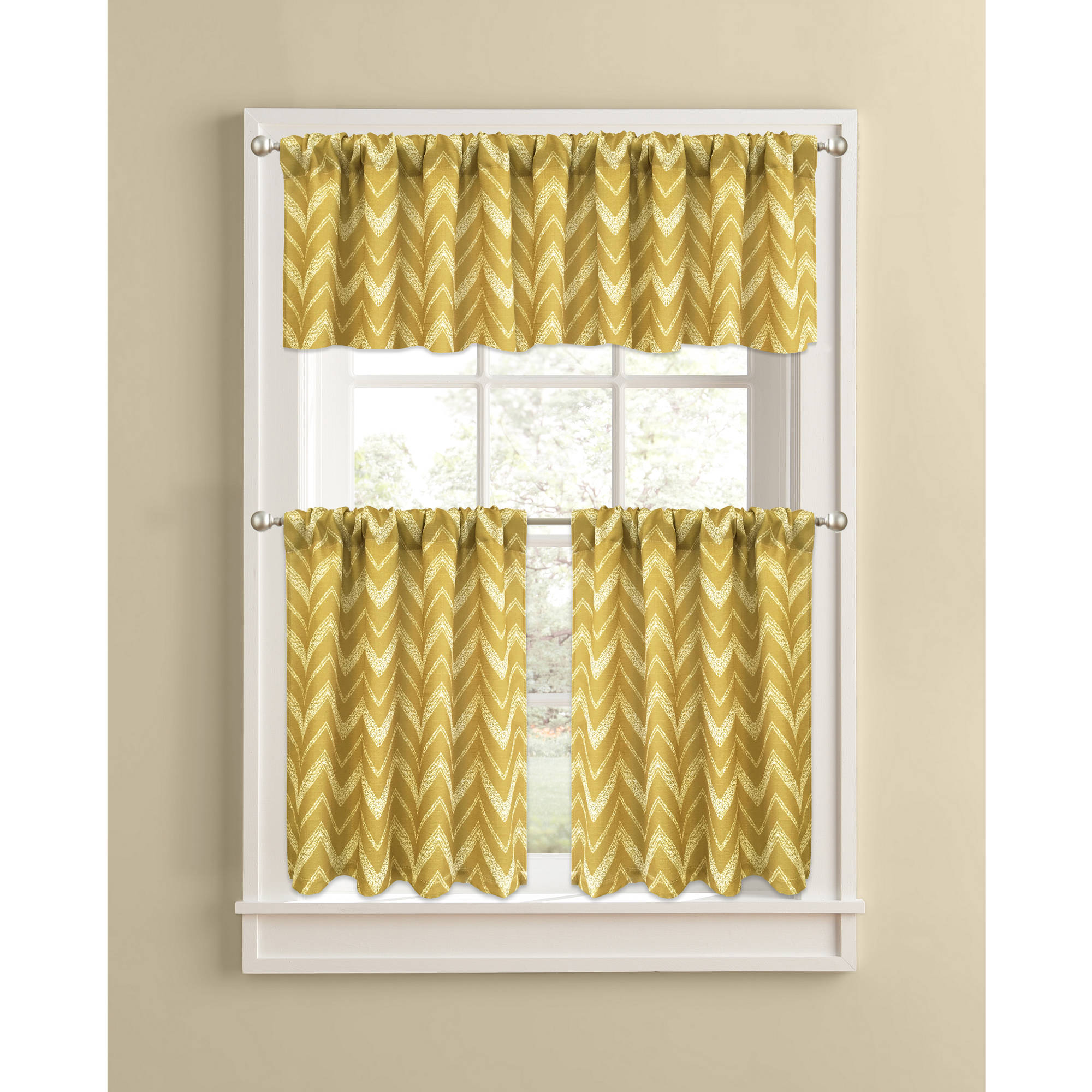 Merveilleux Better Homes And Gardens Gold Chevron Kitchen Curtains, Set Of 2