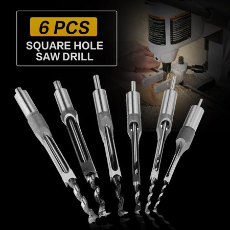 Dilwe 6Pcs Square-hole Saw Auger Drill Bit Mortising Chisel Woodworking Tool, Chisel Drill, Square-hole