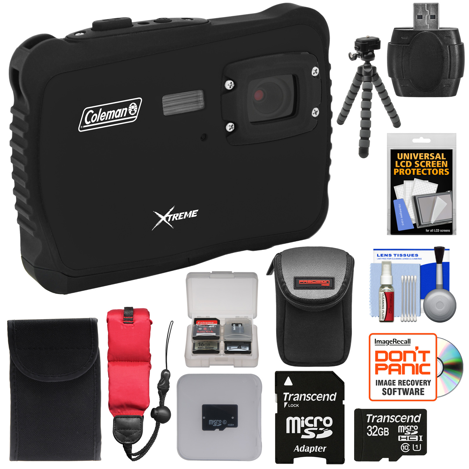 Coleman Xtreme C6WP HD Shock & Waterproof Digital Camera (Black) with 32GB Card   Case   Flex Tripod   Kit