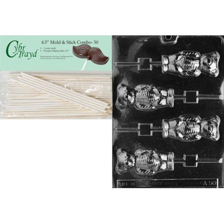 Cybrtrayd 45St50-A050 Bear Lolly Animal Chocolate Candy Mold with 50 4.5-Inch Lollipop Sticks