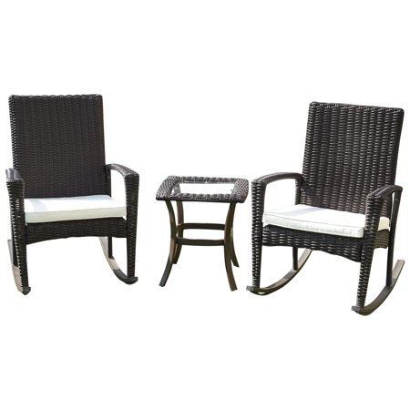Ghp 2 Pcs Brown Rattan Wicker Rocking Chairs With 1 Pc Glass Top