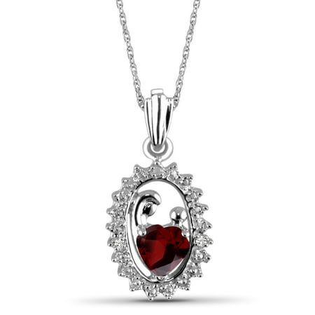 - 0.55 Carat T.G.W. Garnet Gemstone and White Diamond Accent Sterling Silver Mother and Child Pendant