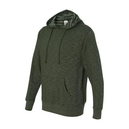 Baja Stripe French Terry Hooded Pullover Sweatshirt - Verde Bosque - 3XL