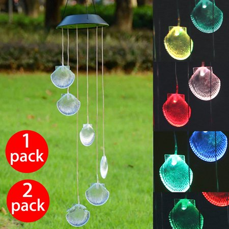 Changing Color Seashell Solar Wind Chimes LED Wind Chime Night Lights Solar Hanging Lantern for Home Garden Bedroom Outdoor Decoration
