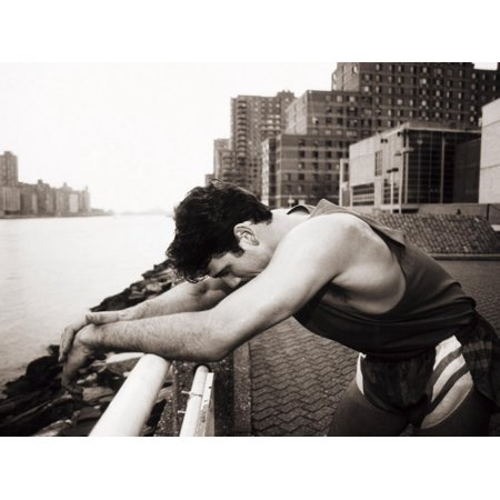 Male Runner Exhausted after Training Run, New York, New York, USA Print Wall Art