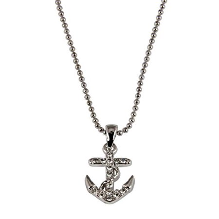 Anchor Necklace 17 Inch Ball Chain Ships Anchor Steady Firm Foundation ()