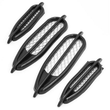 Unique Bargains Automobile Car Adhesive Side Vent Air Flow Fender Sticker Cover Black 4 Pcs