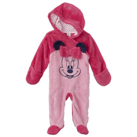 Patagonia Baby Bunting - Disney Infant Girls Plush 2 Tone Pink Minnie Mouse Pram Suit Baby Bunting