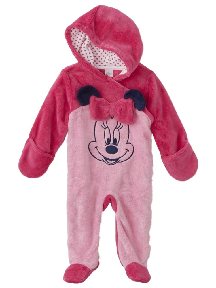 Disney Infant Girls Plush 2 Tone Pink Minnie Mouse Pram Suit Baby Bunting