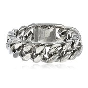 Men's Silvertone Stainless Steel Heavy Cuban Chain 10 Inch Bracelet with Snap Clasp