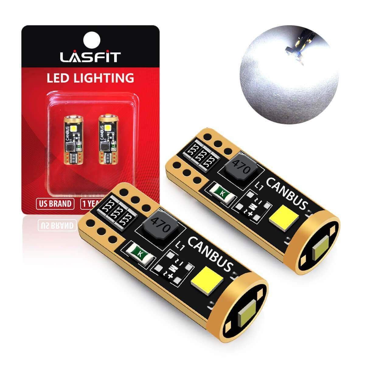 AGT 2SMD CANBUS Error Free Car Interior LED Bulbs 194 168 2825 Pack of 2
