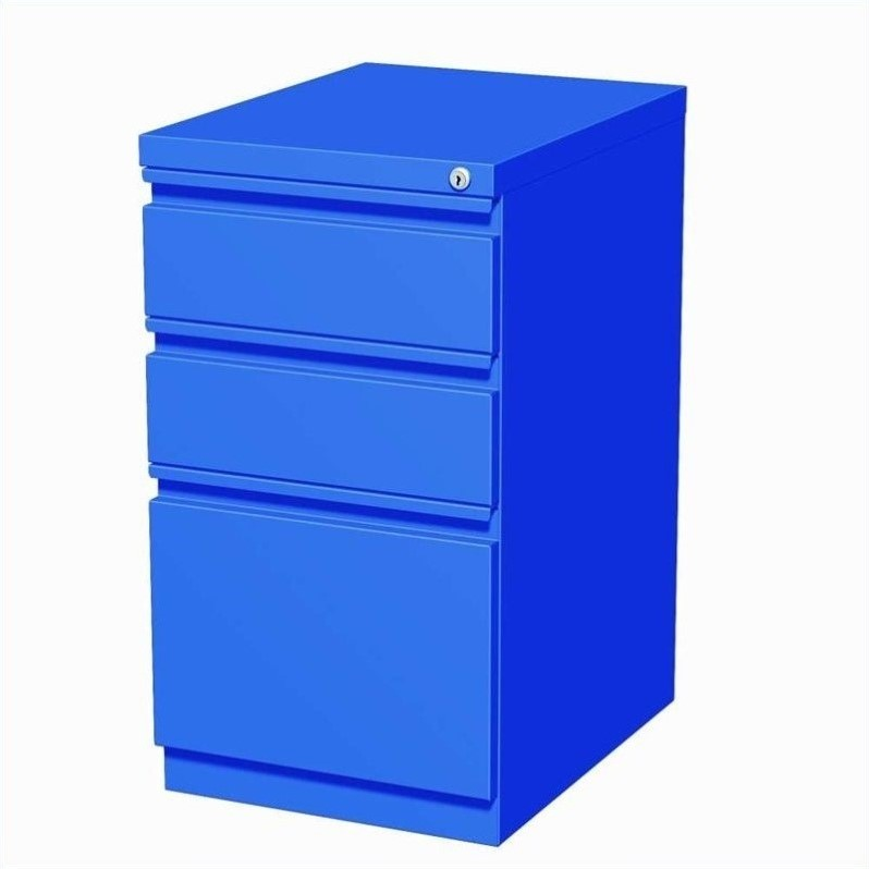 20-inch Deep Mobile Pedestal 3-Drawer Box/Box/File Full Width Pull, Black