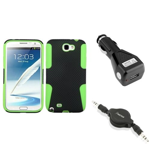 Insten Green/Black Hybrid Case+Car Charger Adapter+Audio Cable For Samsung Galaxy Note 2 II