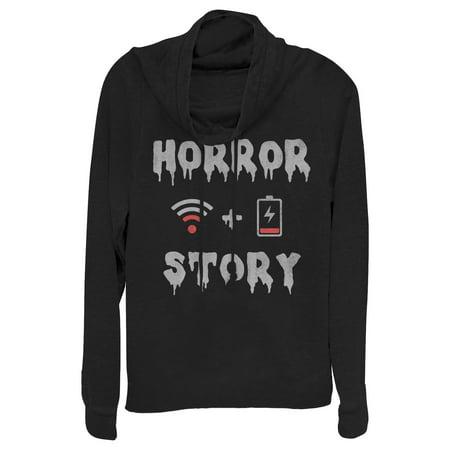 Chin Up Juniors' Halloween WIFI Horror Story Cowl Neck Sweatshirt