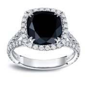 Auriya  18k White Gold 3 1/3ct TDW Cushion-Cut Black Halo Diamond Engagement Ring