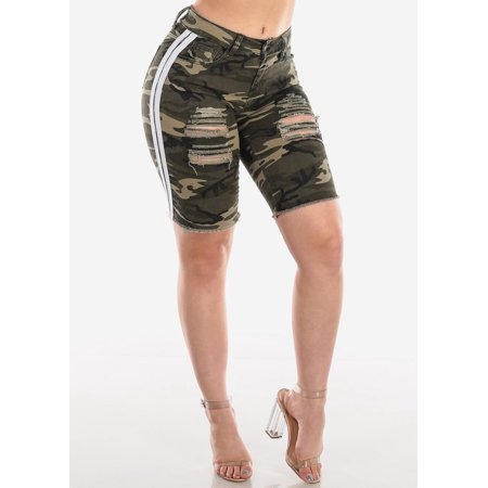 Womens Juniors Casual Mid Rise 1 Button Camouflage Print White Side Stripes Distressed Ripped Cut Off Raw Hem Denim Bermuda Shorts 10068Z