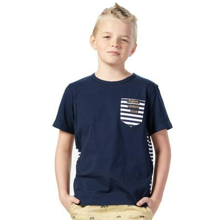 Leo&Lily Big boys Short Sleeve Stripe Splice Crew-Neck T-Shirts