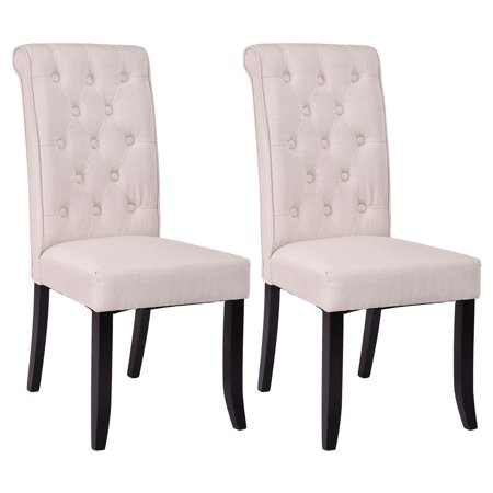 Costway Set of 2 Dining Chairs Fabric Upholstered Tufted Armless Accent Home Kitchen ()