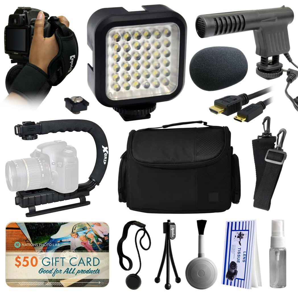 Premium Accessories Package for Nikon DF D7200 D7100 D7000 D5500 D5300 D5200 D5100 D5000 D3300 D3200 D3100 D3000 D300S D90 includes Hand/Wrist Strap + LED Video Light + Microphone + Stabilizer + Case
