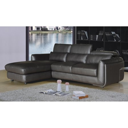 Brown Leather Chaise - AC Pacific Ron Modern Brown Leather 2-piece Sofa and Chaise Sectional