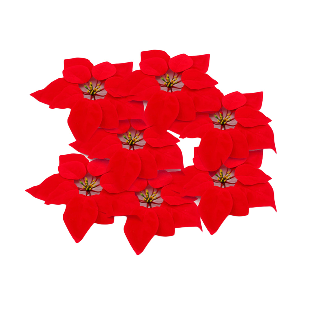 NYKKOLA 30pcs Artificial Christmas Flowers Red Poinsettia Christmas Tree Ornaments 8 Inches Silk Floral Xmas Decoration
